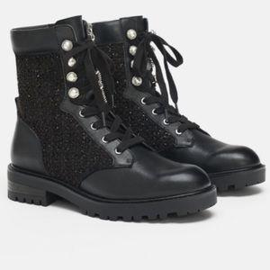 🖤ZARA🖤 black tweed pearl combat leather boots